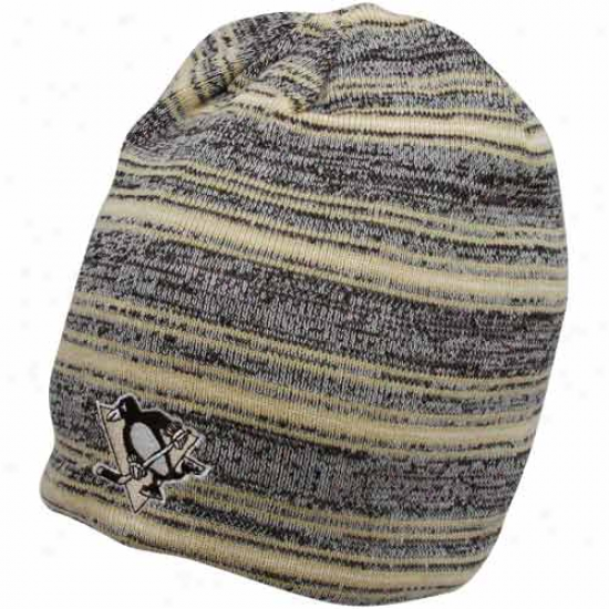 Reebok Pittsburgh Penguins Black-gray Static Striped Reversible Beanie