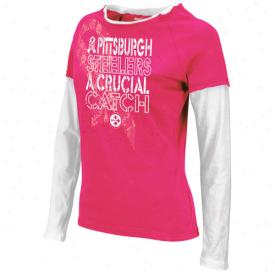 Reebok Pittssburgh Steelers aLdies Laced Up Double Layer Long Sleeve T-shirt - Pink