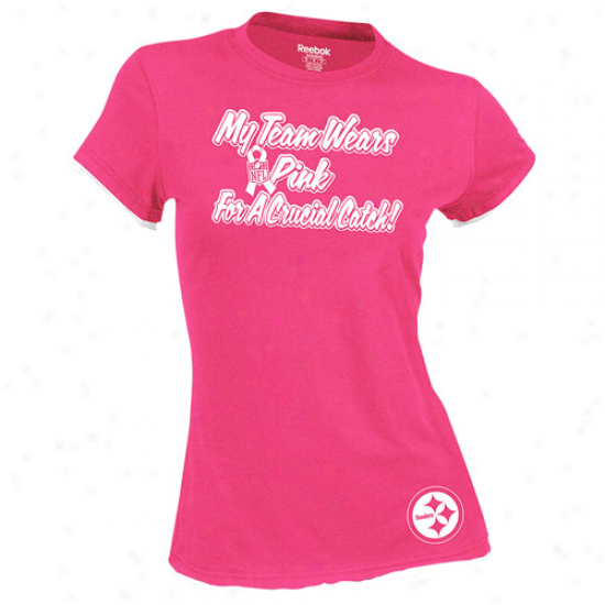 Reebok Pittsburgh Steelers Ladies My Team Wears Pink Double Layer T-shirt - Pink