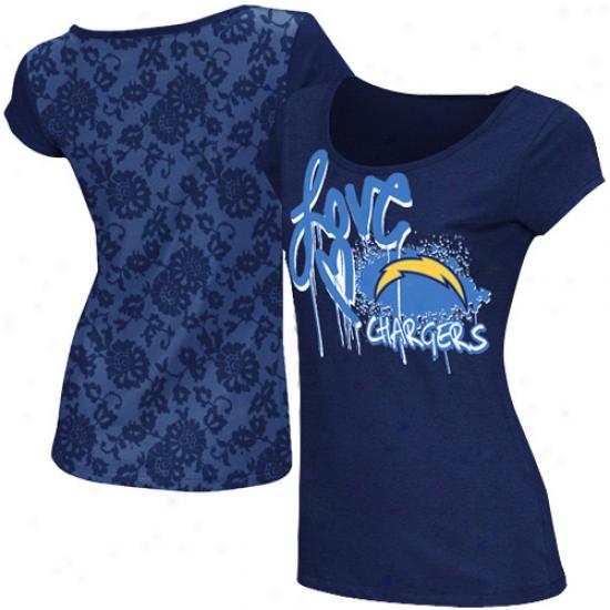 Reebok San Diego Chargers Ladiea Painted Love Lace Burnout Premium T-shirt - Navy Blue