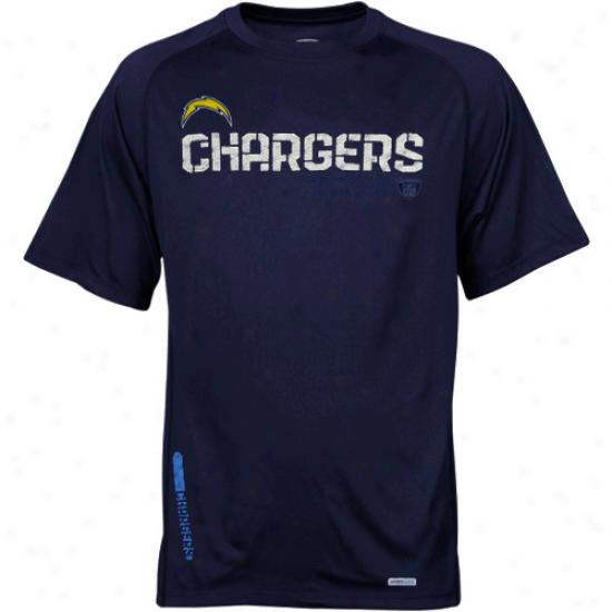 Reebok San Diego Chargers Navy Blue Sideline Speedwick Prefirmance T-shirt