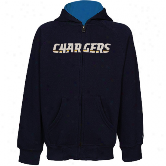 Reebok San Diego Chargers Toddler Navy Blue Playbook Full Zip Hoodie Sweatshirt