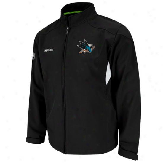 Reebok San Jose Sharks Black Center Ice Full Zip Softshell Jacket