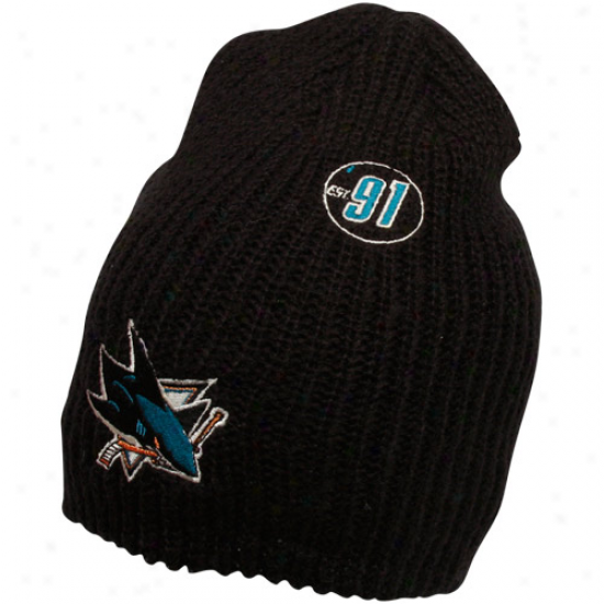 Reebok San Jose Sharks Black Origin Long Knit Beanie