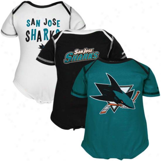Reebok San Jose Sharks Newborn 3-pack Creeper Set - White, Black & Teal