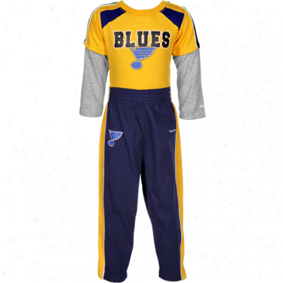 Reebok St. Louis Blues Infant Gold-navy Blue Long Sleeve Layere dCreeper & Pants Set