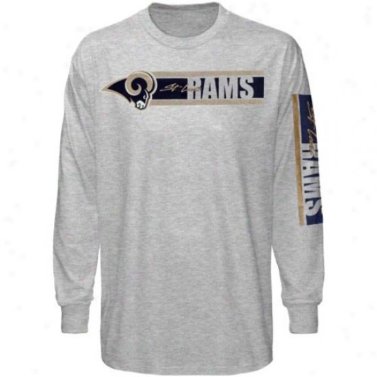 Reebok St. Louis Rams Ash The Stripes Long Sleeve T-shirt