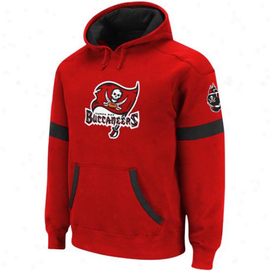 Reebok Tampa Bay Biccaneers Red-black Qb Jersey Pullover Hoodie Sweatshirt