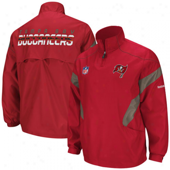Reebok Tampa Bay Buccaneers Red Impetus Sideline Hot Quarter Zip Pullover Jacket