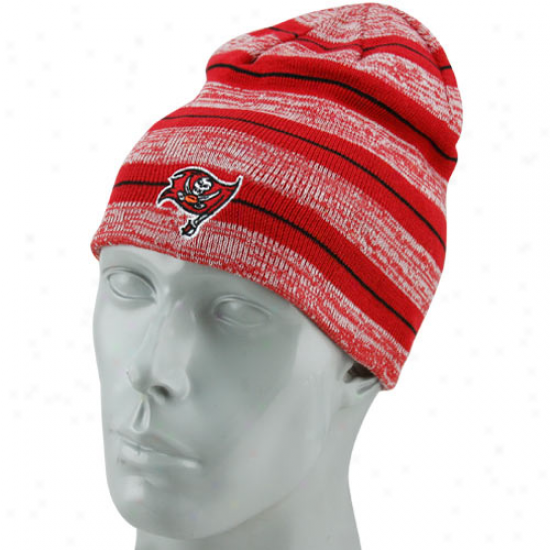 Reebok Tampa Bay Buccaneers Red Reversinle Heather Striped Knit Beanie