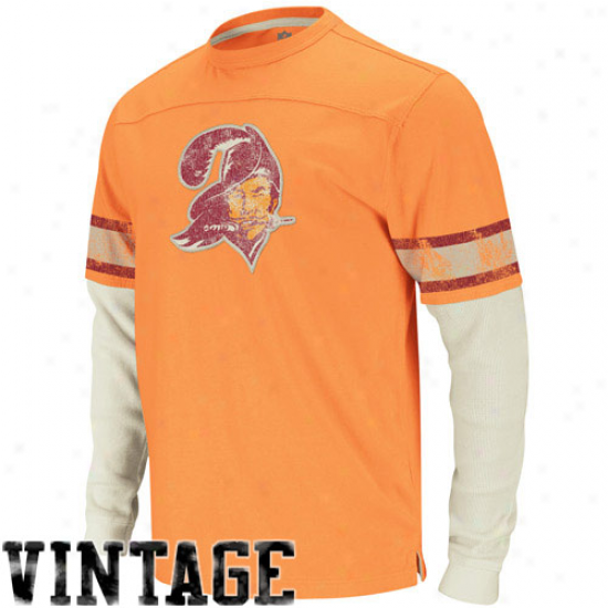 Reebok Tampa Bay Buccaneers Vintage Jersey Applique Double Layer Thermal T-shirt - Orange Glaze