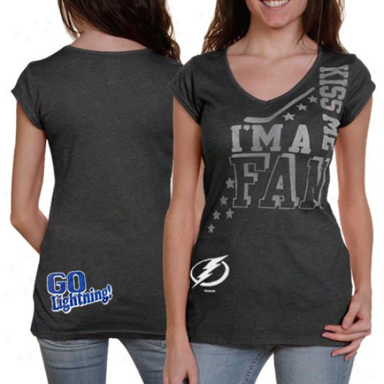 Reebok Tampa Bay Lightning Women's I'm A Fan Kiss Me T-shirt - Charcoal