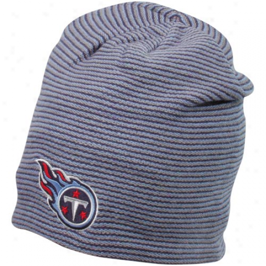 Reebok Tennessee Titans Navy Blue-light Blue Striped Long Slouch Knit Beanie