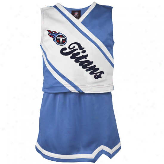 Reeok Tsnnessee Titans Youth Girls Light Blue-white 2-piece S1eeveless Cheeroeader Dress Contrive