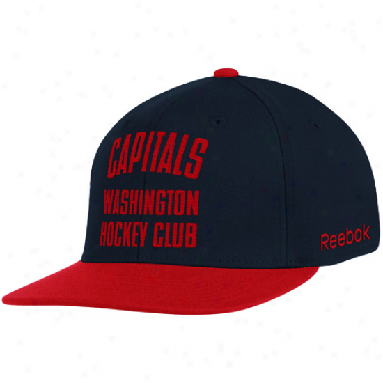 Reebok Washington Capitals Navy Blue-red Hockey Form a ~ Flex Hat