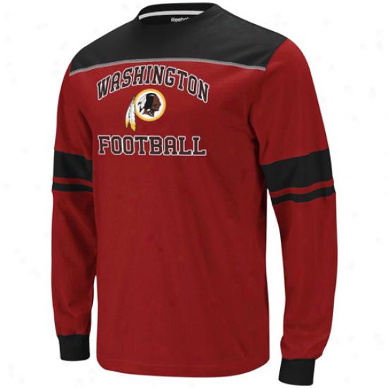 Reebok Washington Redskins Power Sweep Long Sleeve T-shirt - Burgundy-black