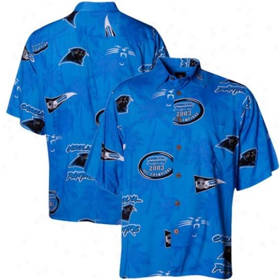 Reyn Spooner Carolina Panthers Panther Blue Scebic Print Hawaiian Buttpn-up Shirt
