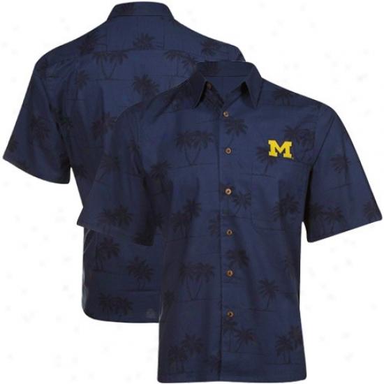 Reyn Spooner Michigan Wolverines Navy Blue Spooner Palms Full-button Shirt