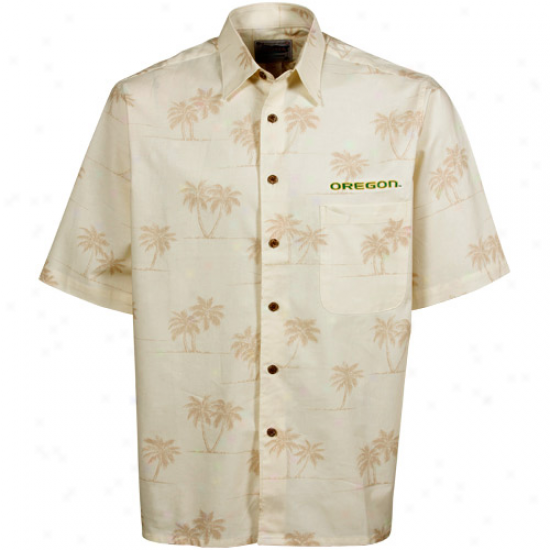 Reyn Spooner Oregon Ducks Natural Spooner Palms Full-button Shirt