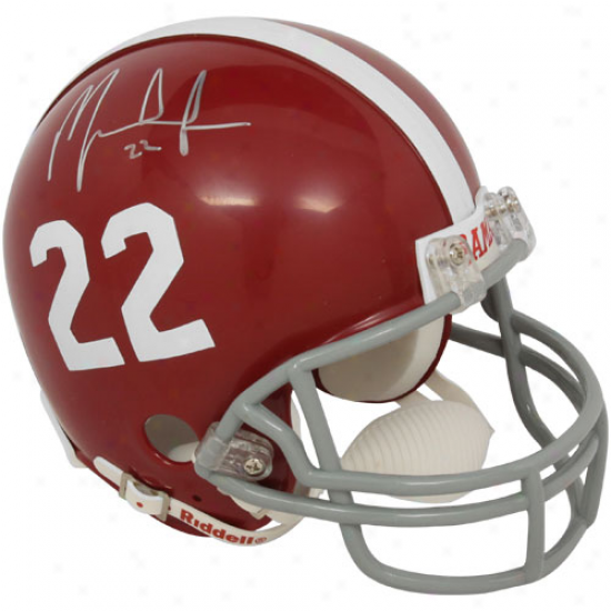 Riddell Alabama Crimson Tide #22 Mark Ingram Jr. Autographed Crimson Replica Miniature Helmet
