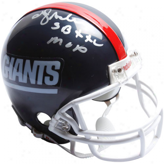 Riddell New YorkG iants #24 Ottis ''o.j.'' Ande5son Autographed Minature Replica Throwback Helmet W/ ''sb Xxi Mvp'' Inscription