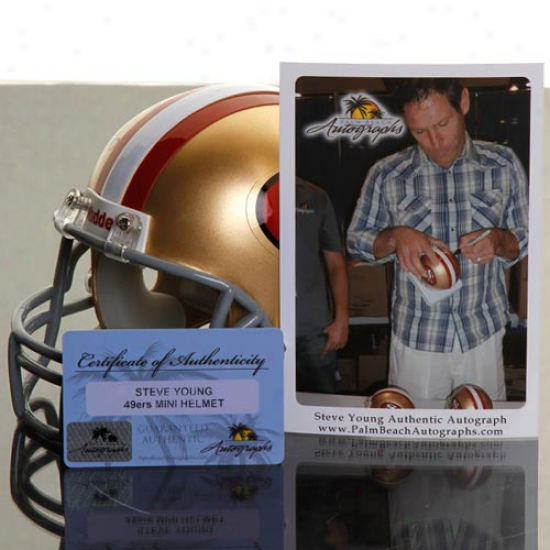Riddell San Francisco 49ers #8 Steve Young Autographed Mini Repiica Throwback Helmet