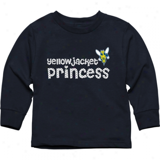 Rochester Yellow Jackets Toddler Princess Long Sleeve T-shirt - Navy Pedantic