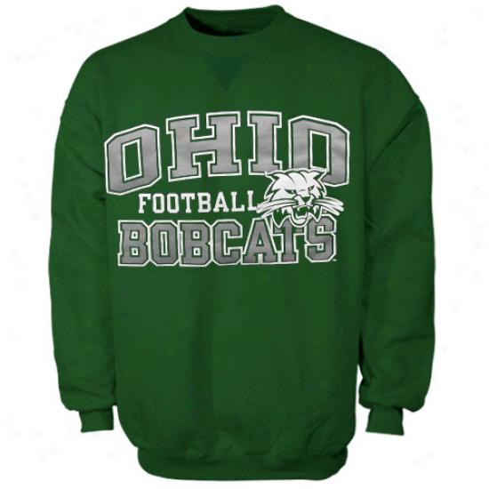 Russell Ohio Bobcats Green Fleece Crew Sweatshirt