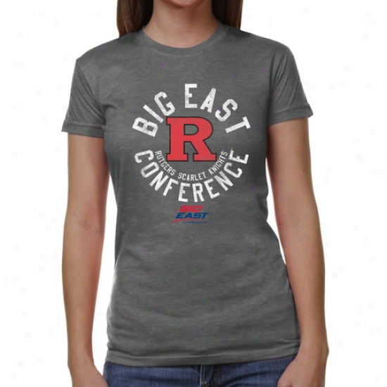 Rutgers Scarlet Knights Ladies Conference Stamp Tri-blend T-shirt - Ash