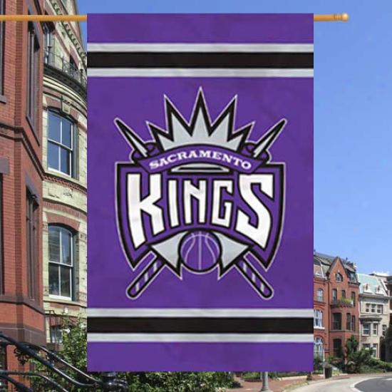 """sacramento Kings 44"""" X 28"""" Purple Team Logo Applique Banner"""