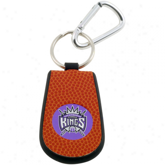 Sacramento Kings Basketball Leather Keychain