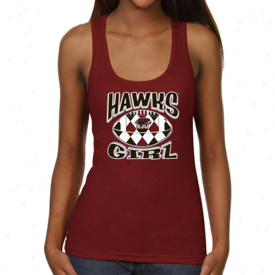 Saint Joseph's Hawks Ladies Argyle Girl Junior's Ribbed Tank Top - Crimson