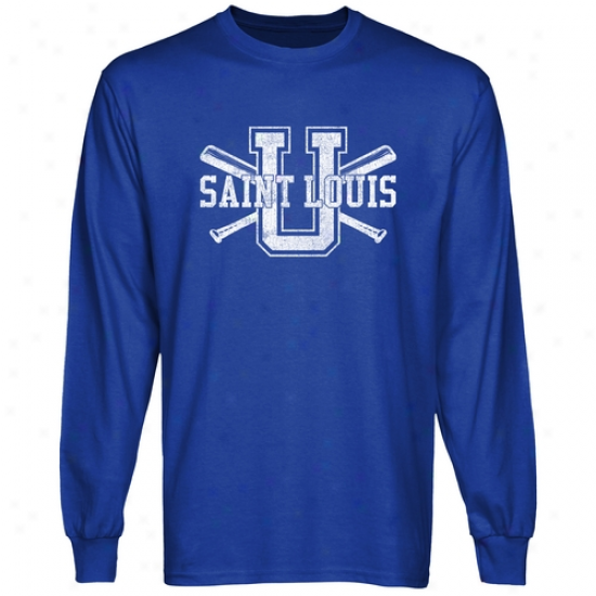 Saint Louis Billikens Crossed Sticks Long Sleeve T-shirt - Royal Blue