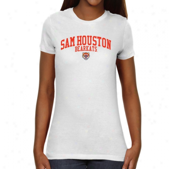Sam Houston State Bearkats Ladies Team Arch Slim Fit T-shirt - Whitee