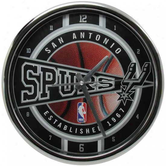San Antonio Spurs 12'' Chrome Wall Clock