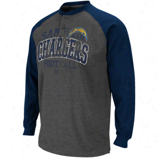 San Diego Chargers Game On Henley Long Sleeve Premium Heathered T-shirt - Charcoal