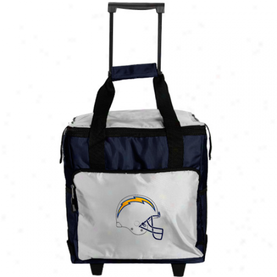San Diego Chargers Navy Blue-wite Rolling Collapsible Cooler