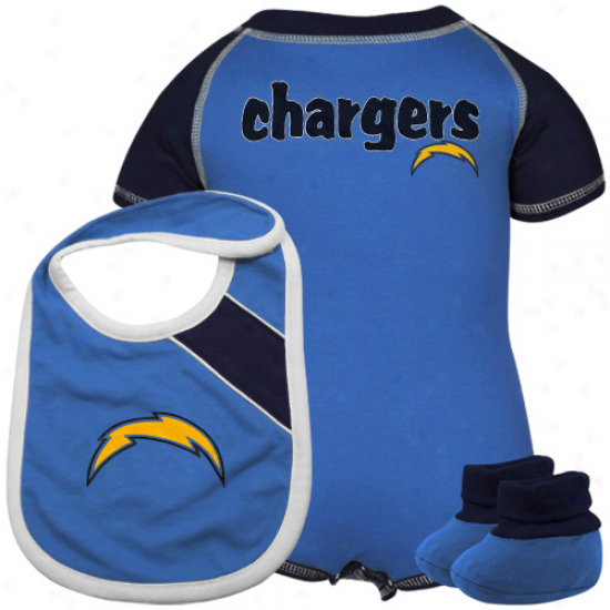 San Diego Chargers Newnorn Navy Blue-powde5 Blue Creeper, Bib & Bootie Set