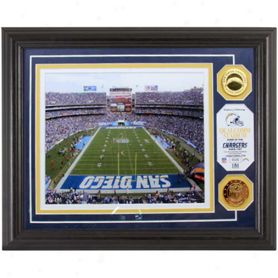 San Diego Chargers Qualcomm Stadium 24kt Gold Coin Photomint