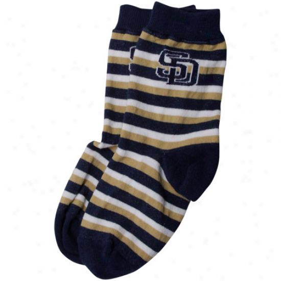 San Diego Padres Toddler Sport Stripe Socks - Navy Blue/gold
