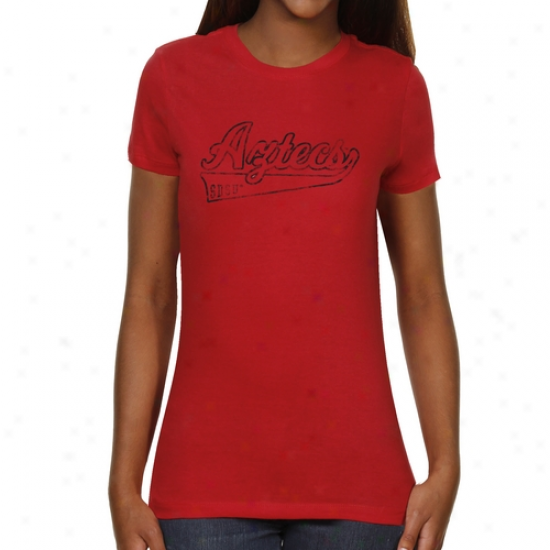 San Diego State Aztecs Ladies Swept Away Slim Fit T-shirt - Red