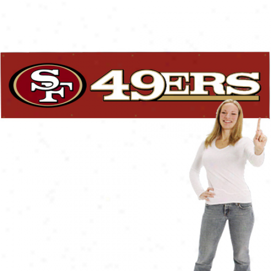 San Francisco 49ers 8' X 2' Scarlet Applique Banner