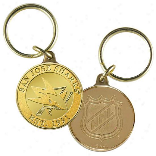 San Jose Sharks Bronze Coin Keychain