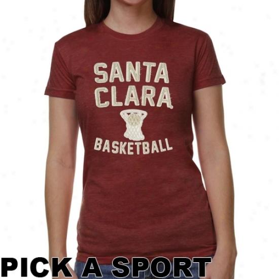 Santa Clara Broncos Ladies Legacy Junior's Tri-blend T-snirt - Cardinal