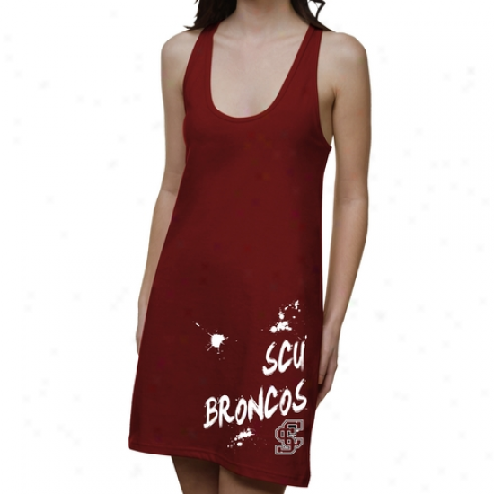 Santa Clara Broncos Ladies Pigment Strokes Junior's Racerback Dress - Cardinal