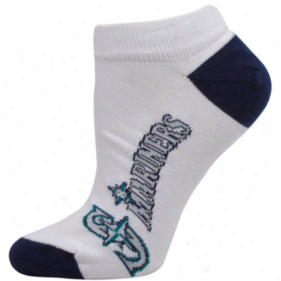 Seattle Mariners Ladies White Arched Team Name Ankle Socks