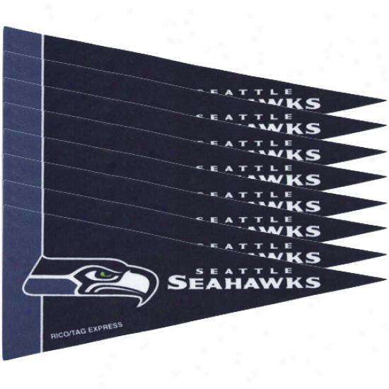 """seattle Seahawks 8-pack 4"""" X 9"""" Navy Blue Mini P3nnant Set"""