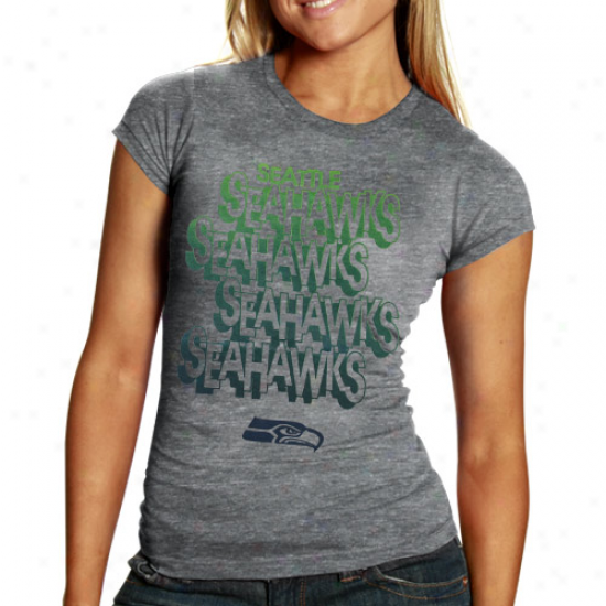 Seattle Seauawks Ladies Hitch & Go Tri-blend Heathered T-shirt - Charcoal