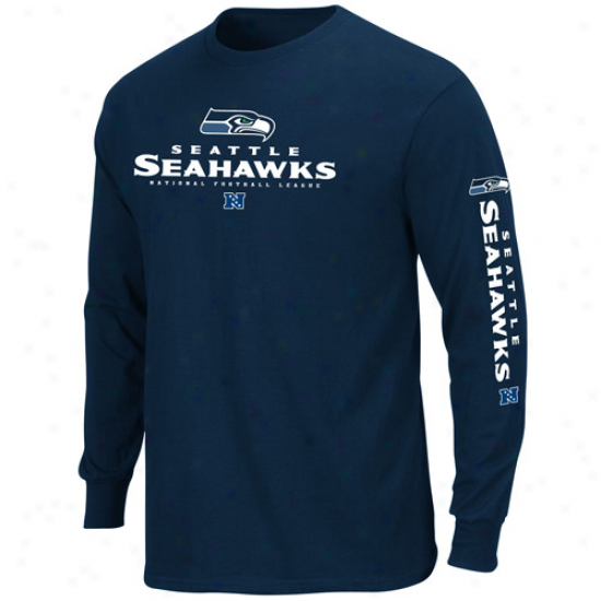 Seattle Srahawks Primary Receiver Ii Protracted Sleeve T-ehirt -S teel Blue