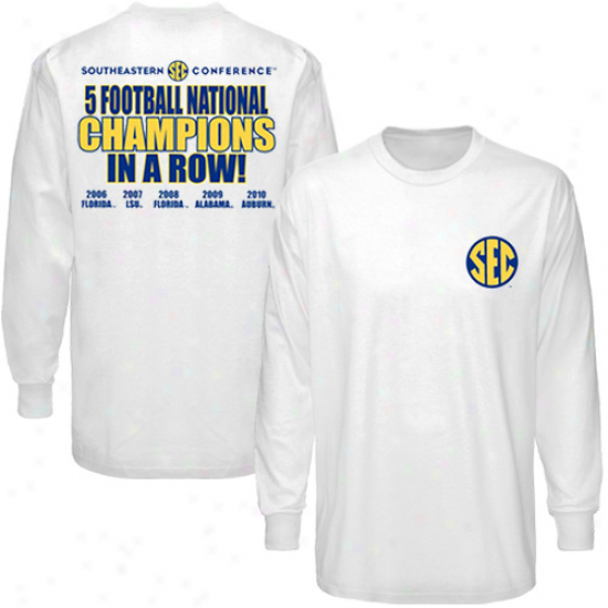 Sec White 2010 Bcs National Champions Five-in-a-row Long Sleeve T-shirt